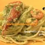 Spaghetti crema di zucchine e gamberi ricetta Tessa Gelisio Cotto e Mangiato per cucinaintv