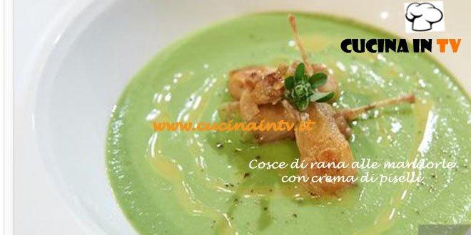 Ricetta Enrica di Masterchef 3 dal titolo cosce di rana alle mandorle con crema di piselli