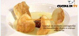Masterchef 3 - Crema di patate con cipolle caramellate chips e infuso alle erbe ricetta Eleonora
