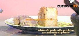 La Prova del Cuoco - Filetto di spada alle zucchine trombetta con quenelle di patata gialla e viola ricetta