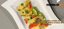 La Prova del Cuoco - ricetta Mezzelune alla ricotta di bufala con vongole e crema di spinaci