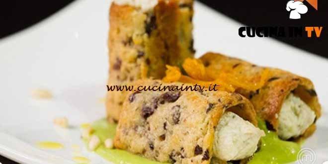 Masterchef 4 - ricetta Cannolo di olive e grana ripieno di coniglio di Paolo