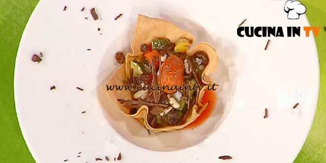 La Prova del Cuoco - Pasta fillo con caponatina cioccolato fondente e sale di maldon ricetta Pellegrino