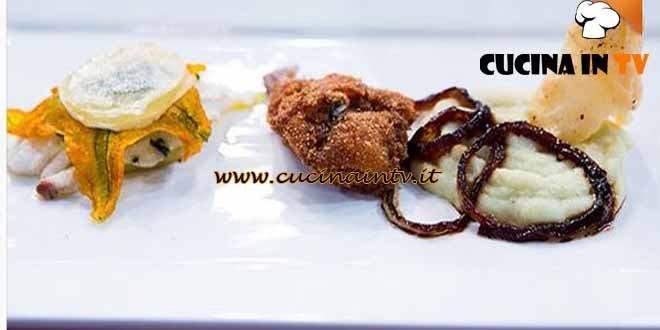 Masterchef 4 - ricetta Coscetta di quaglia fritta con millefoglie di patate e sogliola e crema di sedano rapa di Valentina