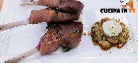 Masterchef 4 - ricetta Costolette d'agnello con agrodolce di porro e uovo di quaglia in camicia di Valentina