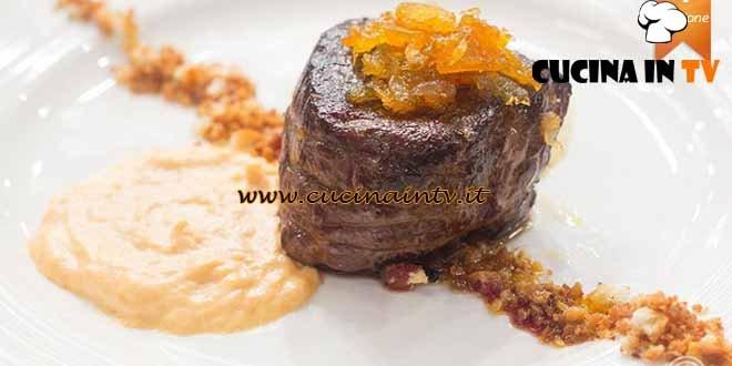 Masterchef 4 - ricetta Filetto di cavallo con crema di porri e maionese di corallo di Valentina