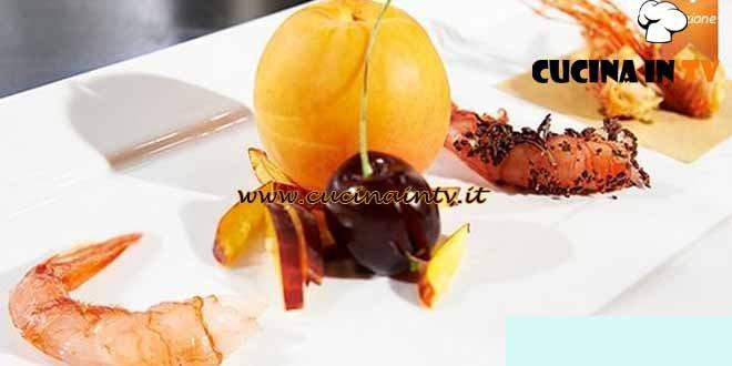Masterchef 4 - ricetta Gambero rosso di Mazara nudo crudo e vestito a festa di Carmelo Chiaramonte