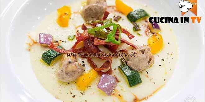 Masterchef 4 - ricetta Gnocchi duri ai porcini con crema di riso e mortadella croccante di Filippo