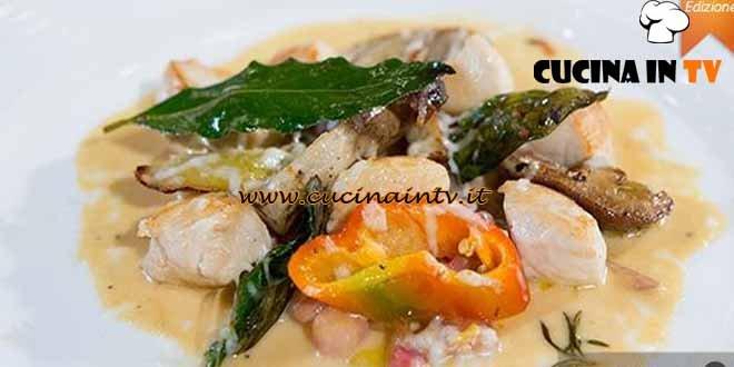 Masterchef 4 - ricetta Gratin di pollo con porcini e peperoni con salsa all'uovo di Bruno Barbieri