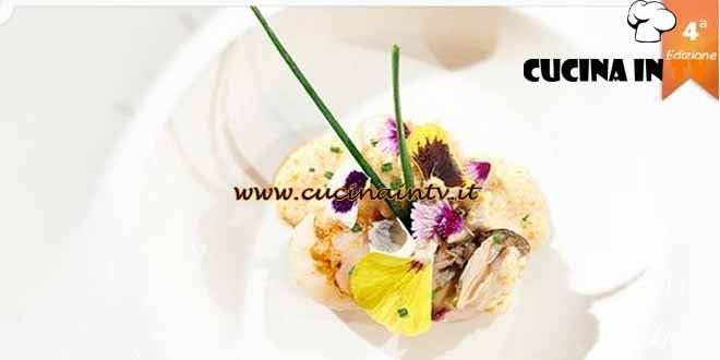 Masterchef 4 - ricetta Ostrica poché al prosecco, capesante alla plancia e crema bianca di Granseola di Luigi Pezzano