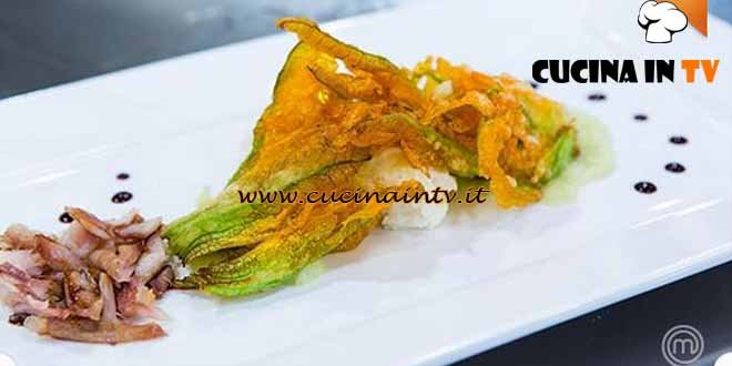 Masterchef 4 - ricetta Quenelle di sogliola e ricotta con quaglia e fiori di zucchina di Paolo