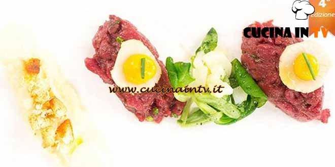 Masterchef 4 - ricetta Tartare di cavallo capasanta corallo piccante di Federica