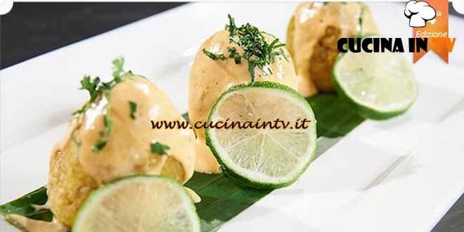 Masterchef 4 - ricetta Arancini di banane con ceviche di gamberi e lime di Ernesto Velazquez