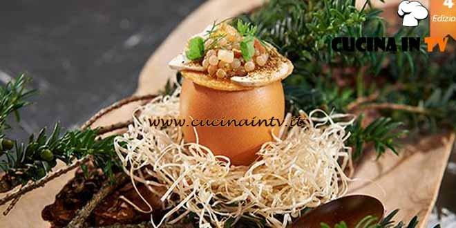 Masterchef 4 - ricetta Caviale di lumache in porchetta spuma di zabaione e porcini di Stefano Baiocco