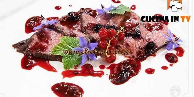 Masterchef 4 - ricetta Controfiletto di cervo con ribes di Andrea Campi