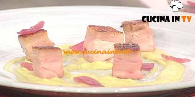 La Prova del Cuoco - Cubi di maiale con crema di broccolo e cipolla arrosto ricetta Bottega