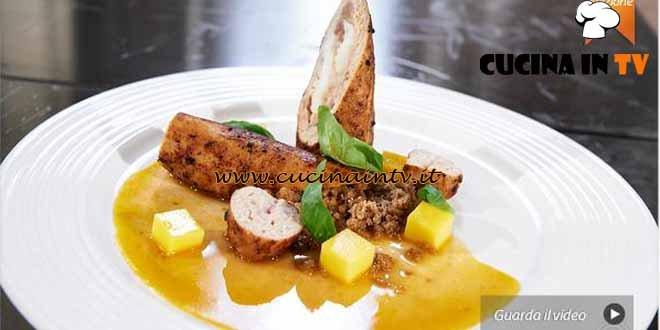 Masterchef 4 - ricetta Galatina di pollo e scampo agli aromi di lapsang con mango in osmosi e fondo bruno di Misha Sukyas