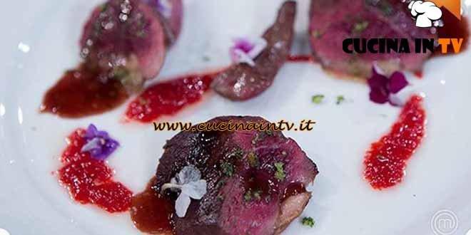 Masterchef 4 - ricetta Germano agrodolce con scalogno caramellato e sale profumato di Amelia