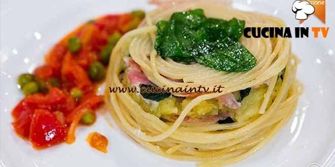 Masterchef 4 - ricetta Sformato di spaghetti stracciatella spinaci patate e porchetta di Simone