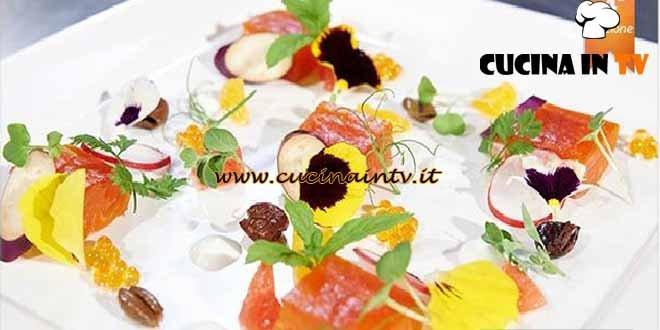 Masterchef 4 - ricetta Trota salmonata marinata agli agrumi yogurt melanzane perline e olive ammaccate di Fabrizio Tesse