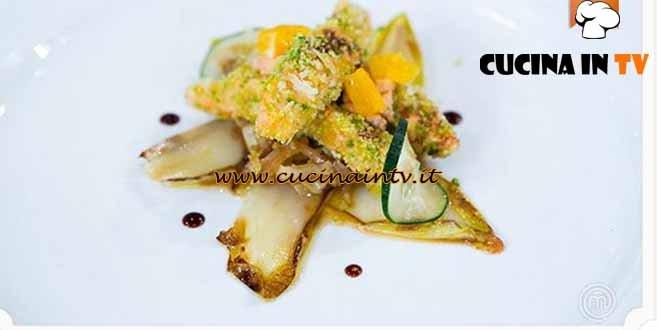 Masterchef 4 - ricetta Bastoncini di salmone impanati con cipolle agrodolci di Paolo