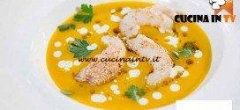 Masterchef 4 - ricetta Passata di zucca scampi ai semi di sesamo con yogurt e olio al profumo di sumak di Bruno Barbieri