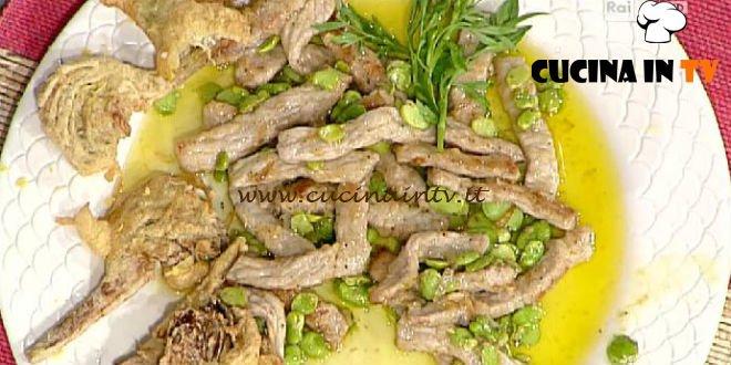 La Prova del Cuoco - ricetta Straccetti di vitello con fave e carciofi fritti dorati