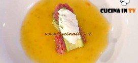 La Prova del Cuoco - ricetta Tartare di manzo fasciata alle zucchine con guazzetto di pomodorini ricotta e zenzero