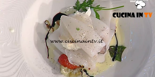 La Prova del Cuoco - Calamaretti in vapore di erbe melanzane burrata e aceto balsamico tradizionale ricetta Pascucci