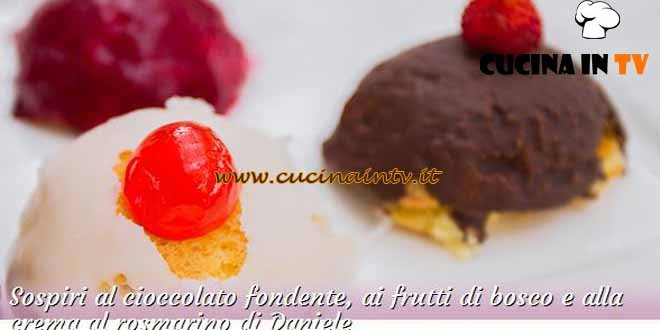 Bake Off Italia 3 - ricetta Sospiri al cioccolato fondente ai frutti di bosco e alla crema al rosmarino di Daniele
