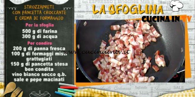 La Prova del Cuoco - Strozzapreti con pancetta croccante e crema di formaggio ricetta Alessandra Spisni