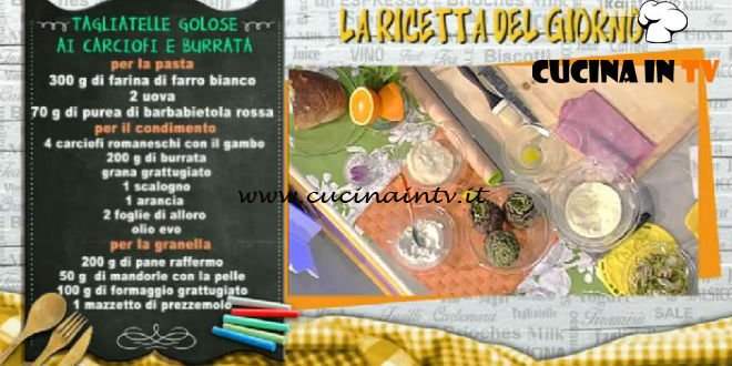 La Prova del Cuoco - Tagliatelle golose ai carciofi e burrata ricetta Sergio Barzetti