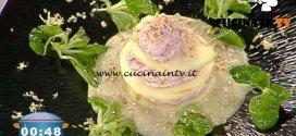 La Prova del Cuoco - Millefoglie di mela e carne salada su crema di carciofi e nocciole ricetta Gilberto Rossi