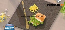 La Prova del Cuoco - Pecorino piastrato con fave e pesto di pinoli ricetta Gilberto Rossi