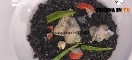 La Prova del Cuoco - Risotto al nero di seppia con fasolari torbati al whisky ricetta Gianfranco Pascucci