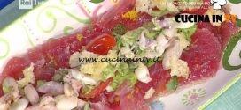 La Prova del Cuoco - Tonno con calamaretti zucchine e briciole di focaccia ricetta Roberto Valbuzzi