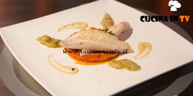 Masterchef Italia 6 - ricetta Filetti di San Pietro su pappa al pomodoro tartare di scampi e crema di rape alla liquirizia di Giulia Brandi