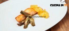 Masterchef Italia 6 - ricetta Salmone al rum e zenzero con mango caramellato e carciofi trifolati di Maria Zaccagni