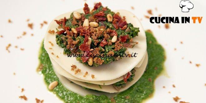 Masterchef Italia 6 - ricetta Lasagnetta con cime di rapa al peperoncino acciughe e salsiccia di Mariangela Gigante