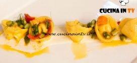 Masterchef Italia 6 - ricetta Maltagliati con verdure gamberi di Mazzara e fondutina di parmigiano e vaniglia di Giulia Brandi