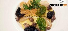 Masterchef Italia 6 - ricetta Quadretti ripieni di croste di parmigiano e crema di patate con ragù bianco e funghi di Loredana Martori