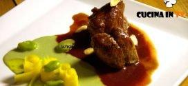 Masterchef Italia 7 - ricetta Medaglioni di vitello con glassa alle fragoline di bosco, salsa al kefir, borragine e insalata di carote e fave di Kateryna Gryniukh