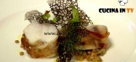 Masterchef Italia 7 - ricetta Pescatrice con lardo lenticchie cialda all'aceto balsamico di Antonino Cannavacciuolo