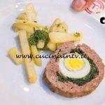 Masterchef Italia 7 - ricetta Polpettone farcito con uova e spinaci e patate saltate di Antonino Bucolo