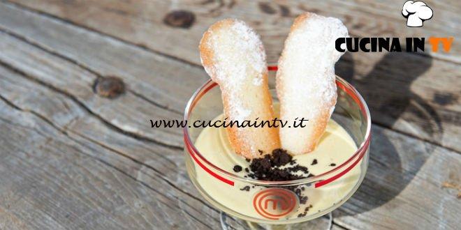 Masterchef 7 | Zabaione caldo con crumble al cioccolato e lingue di gatto ricetta Francesco Rozza