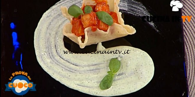 La Prova del Cuoco | Parmigiana in cestino con crema di stracciatella al basilico ricetta Nicoletta Lanci
