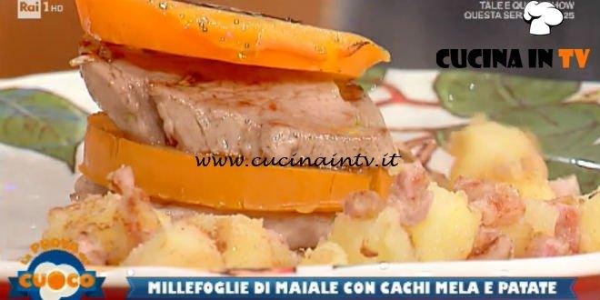 La Prova del Cuoco   Millefoglie di filetto di maiale e caco mela con patate sabbiate ricetta Anna Maria Palma