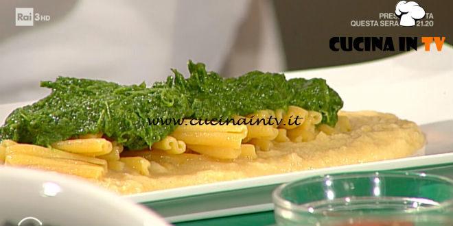Geo | Maccheroncini di lenticchie con purea di ceci e pesto di cime di rapa ricetta Peppe Zullo