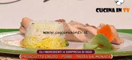 La Prova del Cuoco | Treccia di trota salmonata con sformatino di riso e prosciutto crudo ricetta Sergio Barzetti