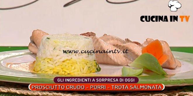 La Prova del Cuoco   Treccia di trota salmonata con sformatino di riso e prosciutto crudo ricetta Sergio Barzetti